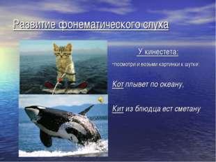 Развитие фонематического слуха У кинестета: -посмотри и возьми картинки к шут