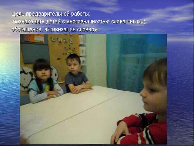 Цель предварительной работы: познакомить детей с многозначностью слова «игла»...
