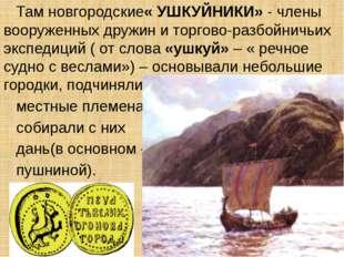 Там новгородские« УШКУЙНИКИ» - члены вооруженных дружин и торгово-разбойничь