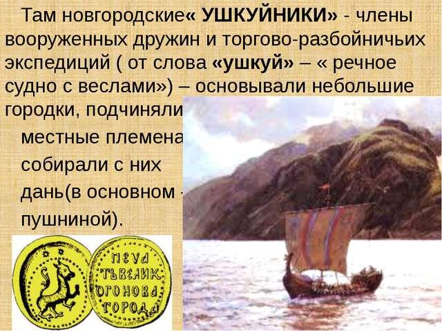 Там новгородские« УШКУЙНИКИ» - члены вооруженных дружин и торгово-разбойничь...