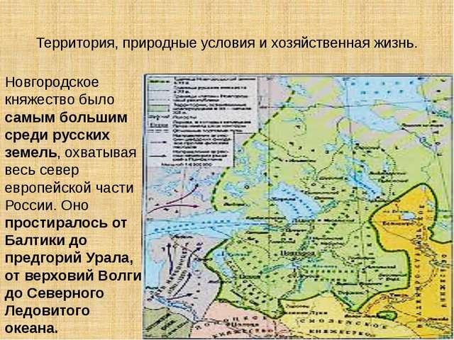 Территория, природные условия и хозяйственная жизнь. Новгородское княжество б...