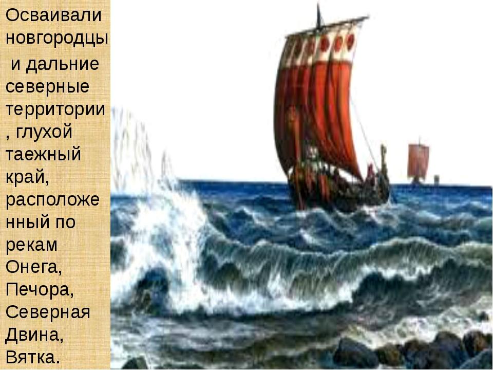 Осваивали новгородцы и дальние северные территории, глухой таежный край, расп...