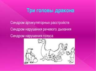 Три головы дракона Синдром артикуляторных расстройств Синдром нарушения речев