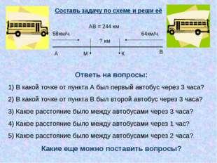 58км/ч. 64км/ч. ? км А В АВ = 244 км Составь задачу по схеме и реши её Ответ