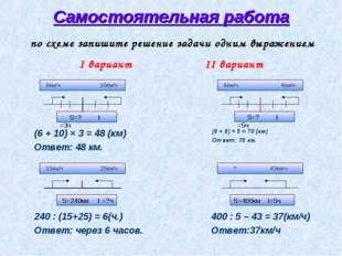 Самостоятельная работа (6 + 10) × 3 = 48 (км) Ответ: 48 км. 240 : (15+25) = 6