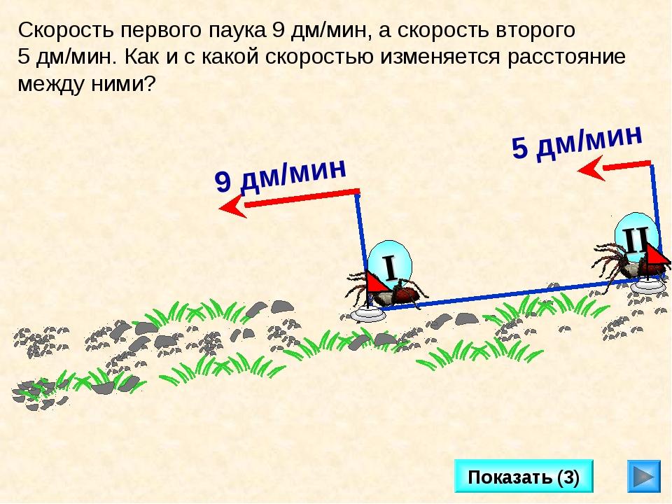 Показать (3) Скорость первого паука 9 дм/мин, а скорость второго 5 дм/мин. Ка...