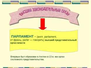 ПАРЛАМЕНТ - (англ. parliament, от франц. parler — говорить) высший представи