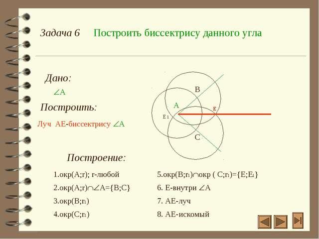 Задача 6 Построить биссектрису данного угла Дано: А Построить: Построение: А...