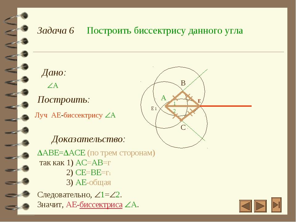 Задача 6 Построить биссектрису данного угла Дано: А Построить: А Луч AE-бисс...