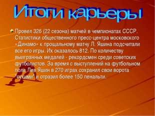 Провел 326 (22 сезона) матчей в чемпионатах СССР. Статистики общественного п