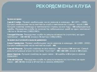 РЕКОРДСМЕНЫ КЛУБА За всю историю: Сергей Столбун. Провел наибольшее число сез