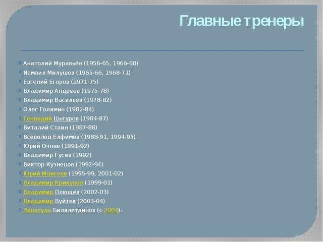 Главные тренеры Анатолий Муравьёв (1956-65, 1966-68) Исмаил Милушев (1965-66,...