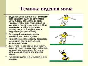 Техника ведения мяча Ведения мяча выполняют во время бега ударами один за дру