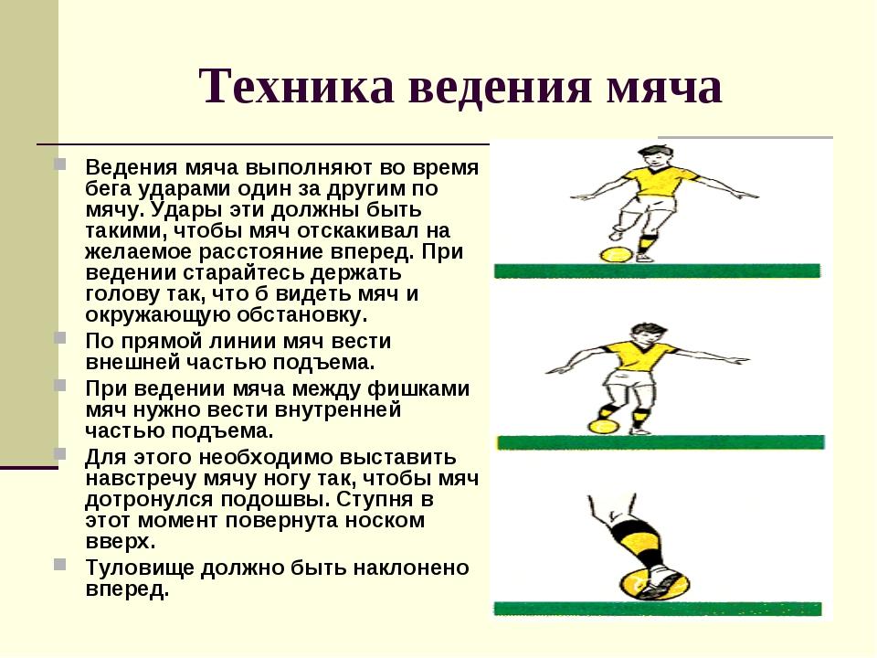 Техника ведения мяча Ведения мяча выполняют во время бега ударами один за дру...