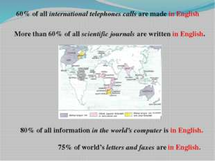 60% of all international telephones calls are made in English More than 60% o