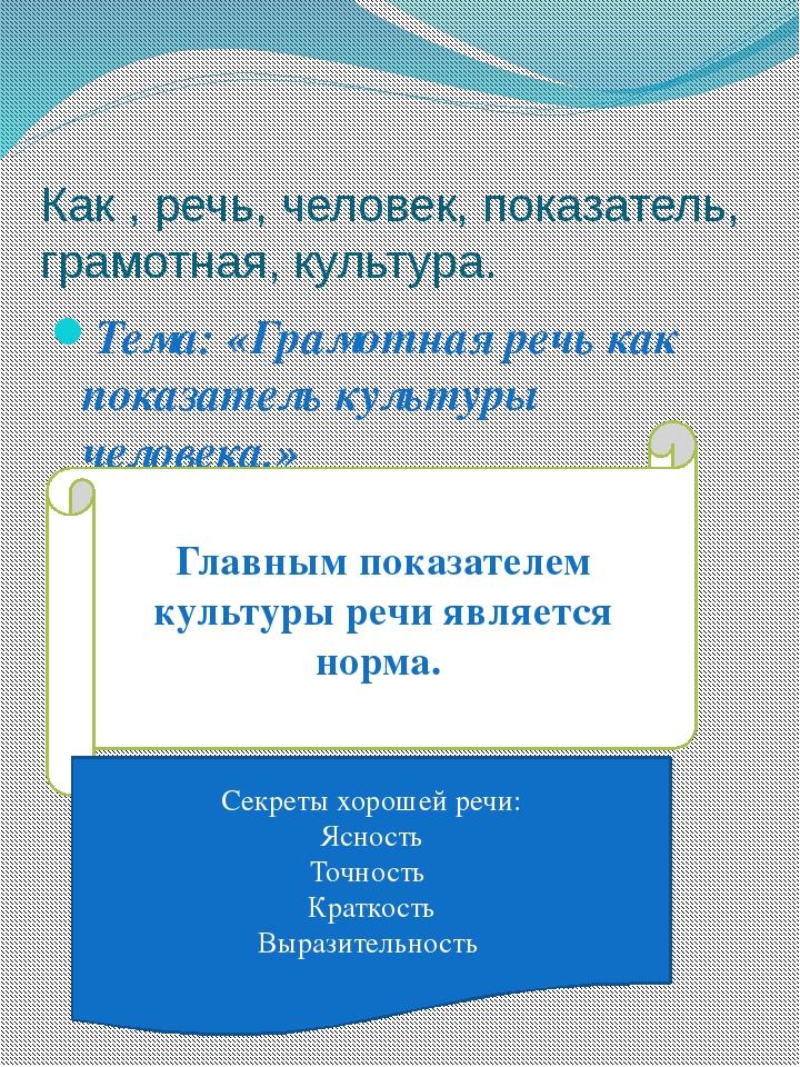 Как , речь, человек, показатель, грамотная, культура. Тема: «Грамотная речь к...