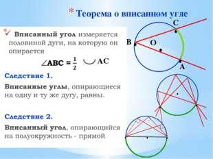 Теорема о вписанном угле О В С А ∙ ∙ ∙ ∙ ∙ ∙ ∙ ∙ ∙ ∙ АС