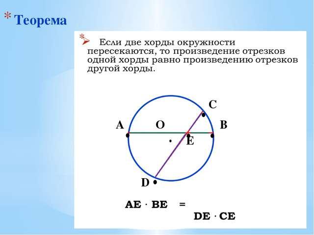 Теорема ∙ О А В ∙ ∙ ∙ ∙ D С ∙ E