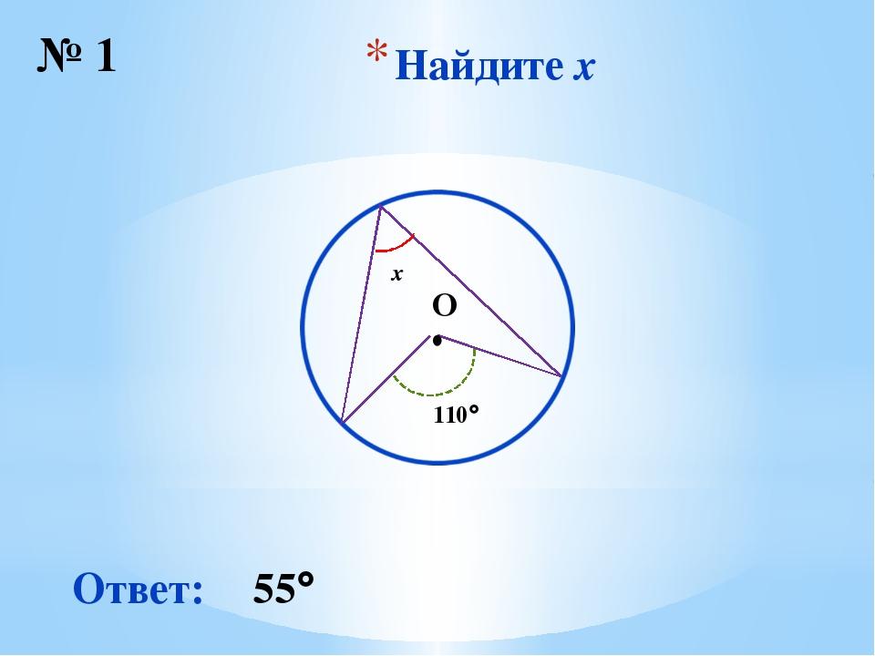 Найдите x № 1 ∙ O Ответ: 55 x 110