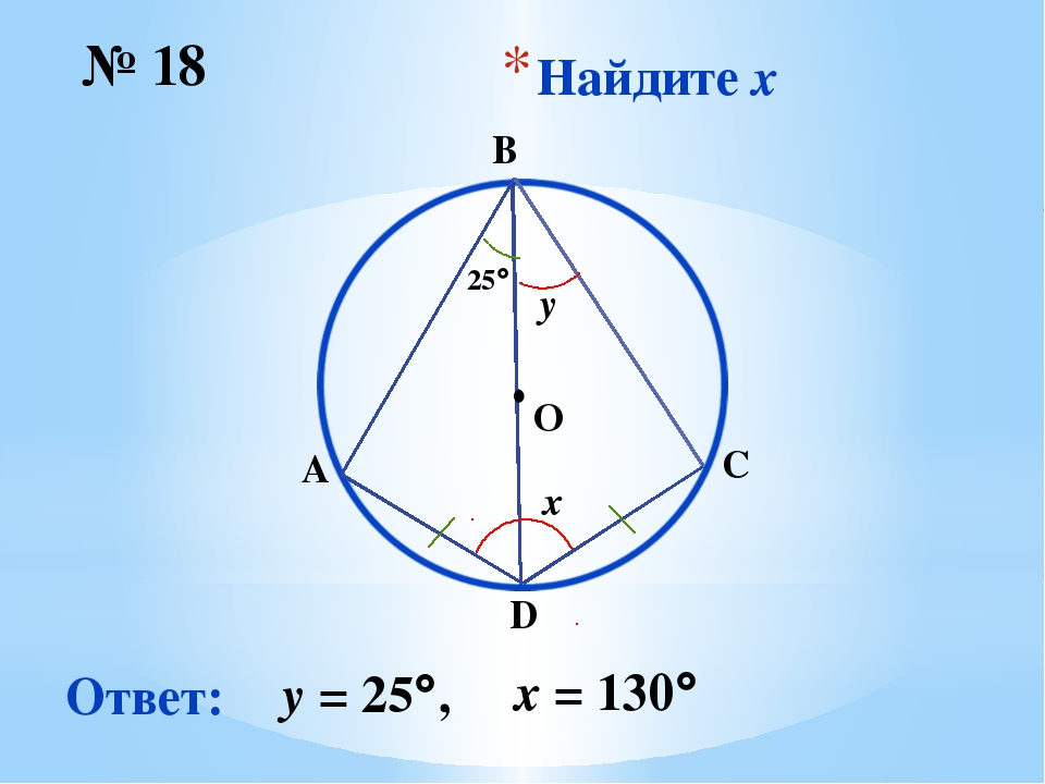 Найдите x № 18 Ответ: y = 25, O ∙ x 25 y x = 130 B D C A