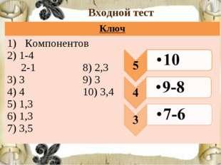 Входной тест Ключ Компонентов 2) 1-4 2-1 8) 2,3 3) 3 9) 3 4) 4 10) 3,4 5) 1,3