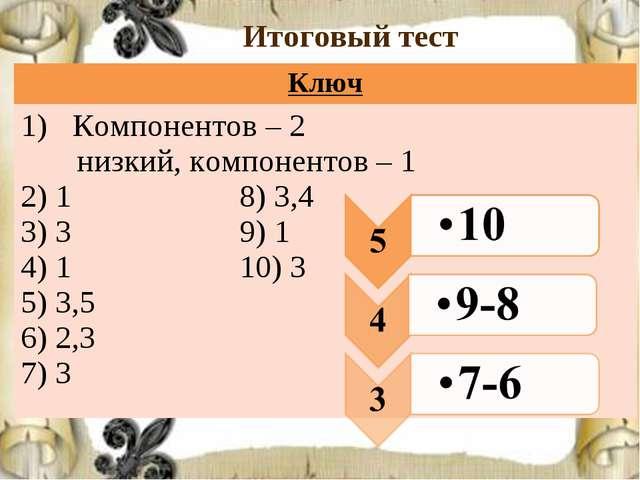 Итоговый тест Ключ Компонентов – 2 низкий, компонентов – 1 2) 1 8) 3,4 3) 3 9...