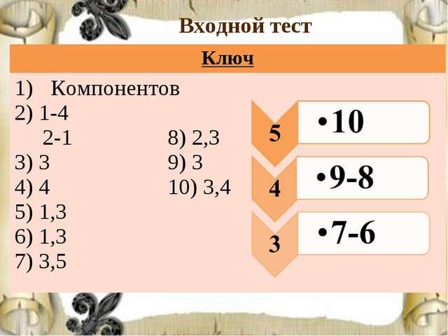 Входной тест Ключ Компонентов 2) 1-4 2-1 8) 2,3 3) 3 9) 3 4) 4 10) 3,4 5) 1,3...