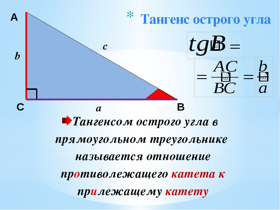 Тангенс острого угла А С В b c a Тангенсом острого угла в прямоугольном треуг...
