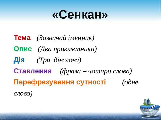 «Сенкан» Тема (Зазвичай іменник) Опис (Два прикметники) Дія (Три дієслова) Ст...