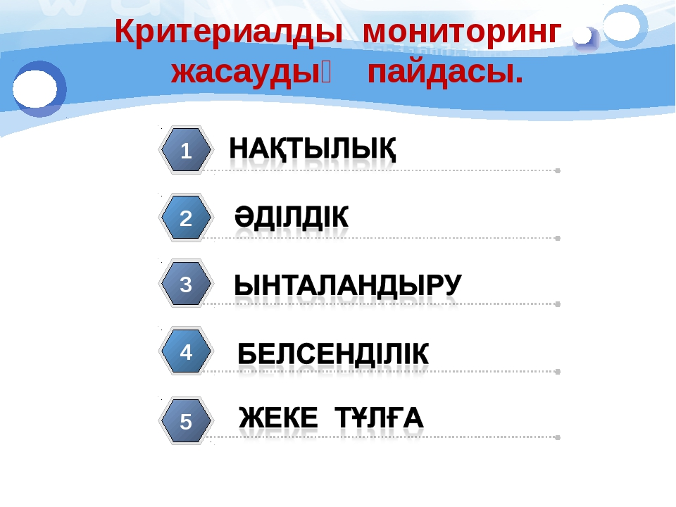 1 2 3 4 5 Критериалды мониторинг жасаудың пайдасы. 5