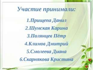 Участие принимали: 1.Прищепа Данил 2.Шумская Карина 3.Полянцев Пётр 4.Климов