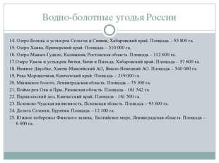 Водно-болотные угодья России 14. Озеро Болонь и устья рек Сельгон и Симми, Ха