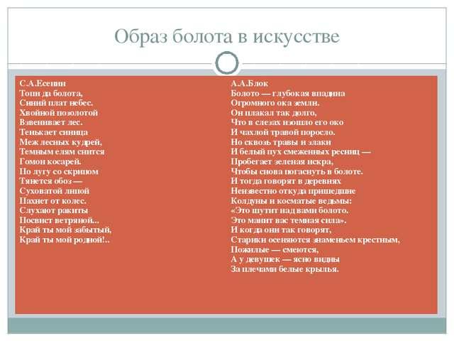 Образ болота в искусстве С.А.Есенин Топи да болота, Синий плат небес. Хвойной...