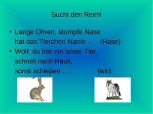 Sucht den Reim! Lange Ohren, stumpfe Nase hat das Tierchen Name … (Hase) Wolf