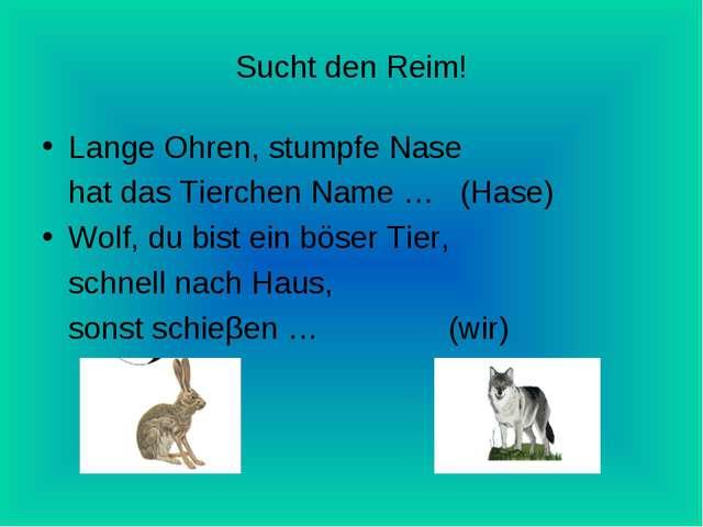 Sucht den Reim! Lange Ohren, stumpfe Nase hat das Tierchen Name … (Hase) Wolf...