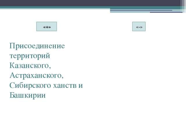 «+» «-» Присоединение территорий Казанского, Астраханского, Сибирского ханств...