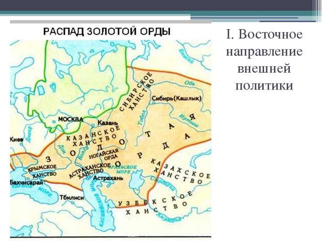 I. Восточное направление внешней политики