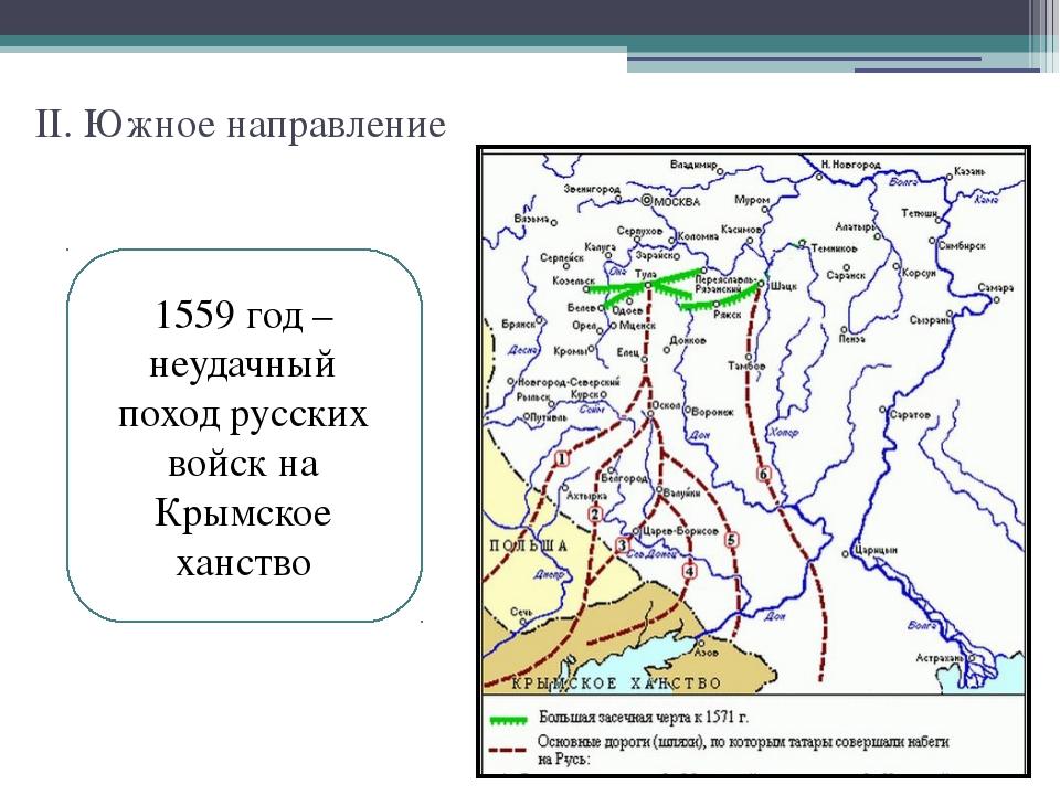 II. Южное направление 1559 год – неудачный поход русских войск на Крымское ха...
