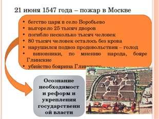 21 июня 1547 года – пожар в Москве бегство царя в село Воробьево выгорело 25