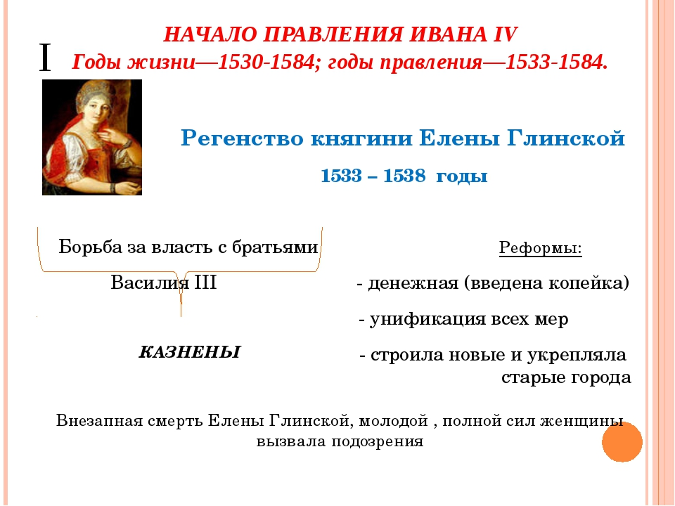 НАЧАЛО ПРАВЛЕНИЯ ИВАНА IV Годы жизни—1530-1584; годы правления—1533-1584. I К...