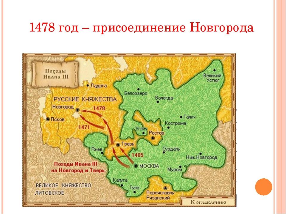 1478 год – присоединение Новгорода