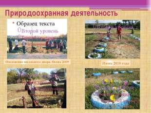 Природоохранная деятельность Озеленение школьного двора. Осень 2009 Июнь 2010