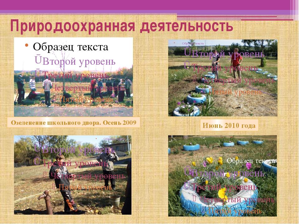 Природоохранная деятельность Озеленение школьного двора. Осень 2009 Июнь 2010...