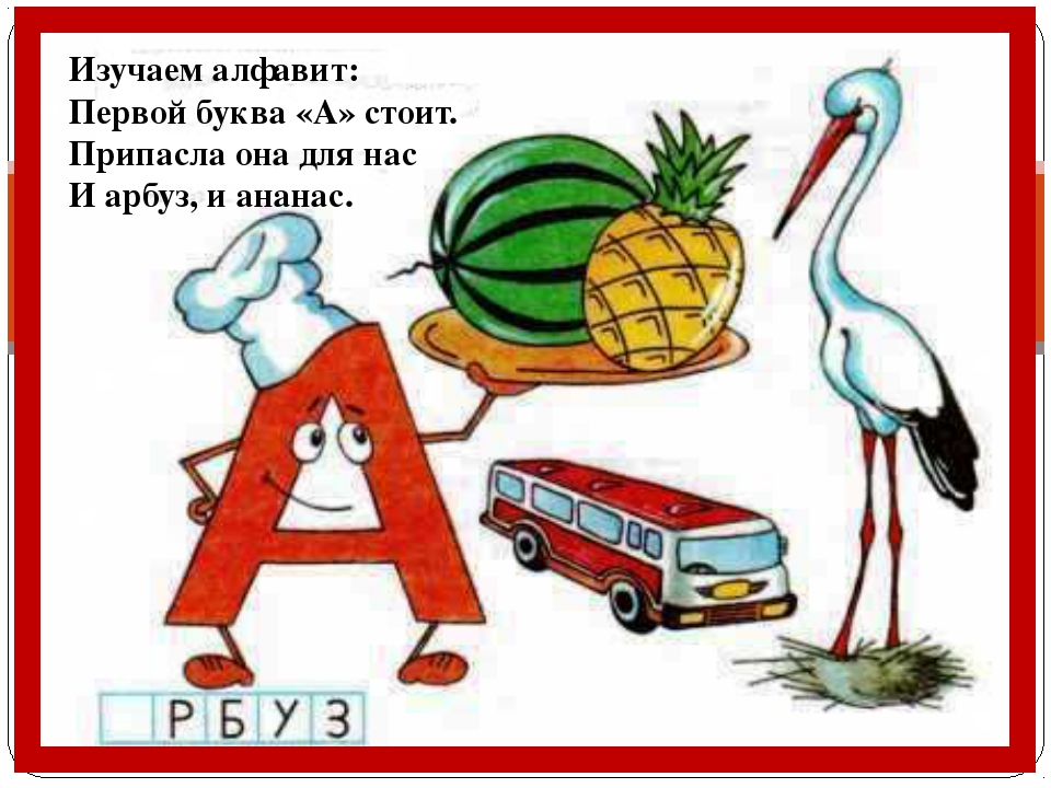 Изучаем алфавит: Первой буква «А» стоит. Припасла она для нас И арбуз, и ана...