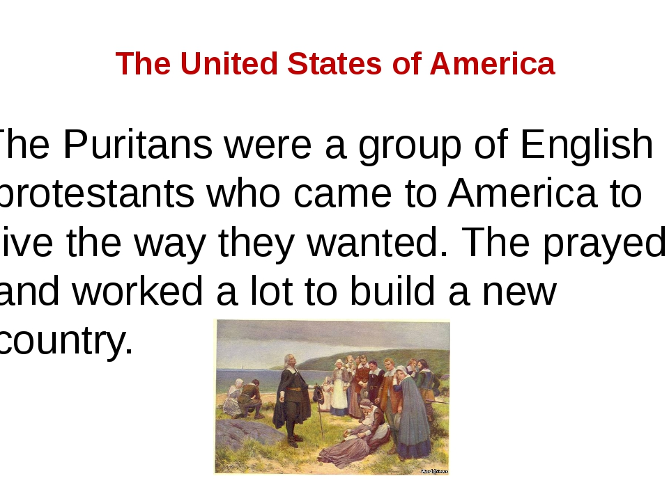 The United States of America The Puritans were a group of English protestants...