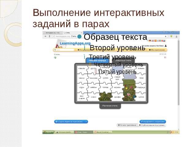 Выполнение интерактивных заданий в парах