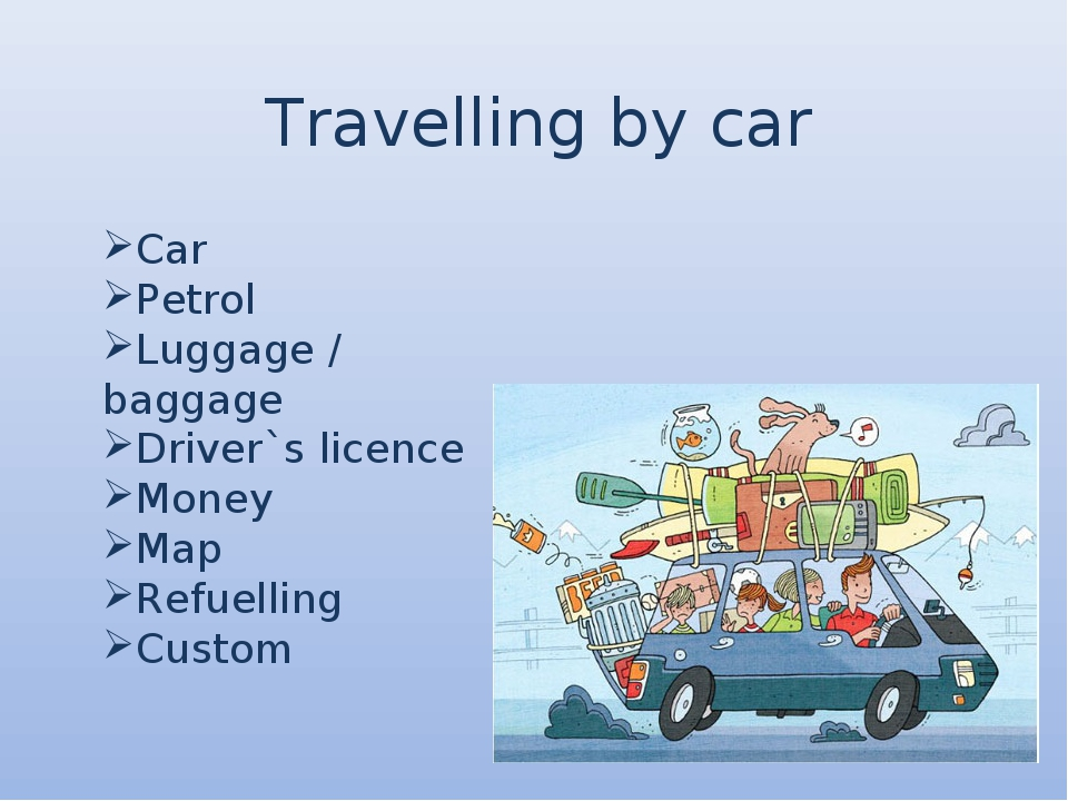 Travelling by car Car Petrol Luggage / baggage Driver`s licence Money Map Ref...