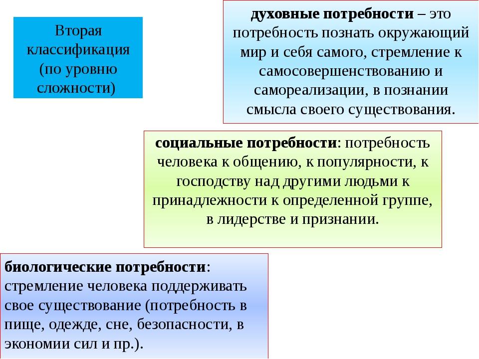 Вторая классификация (по уровню сложности) духовные потребности – это потребн...