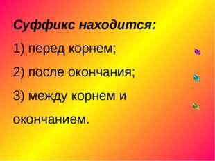 Суффикс находится: 1) перед корнем; 2) после окончания; 3) между корнем и ок