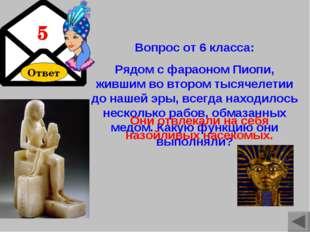 Ответ Вопрос от 6 класса: Рядом с фараоном Пиопи, жившим во втором тысячелети
